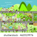urban landscape with houses ... | Shutterstock . vector #463519976