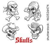 sketched dangerous skulls of... | Shutterstock .eps vector #463526474