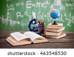 microscope with book on the... | Shutterstock . vector #463548530