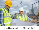 view of a engineer and worker... | Shutterstock . vector #463550498