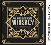 whiskey label with old frames | Shutterstock .eps vector #463589798
