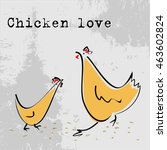 stylized chicken and rooster.... | Shutterstock .eps vector #463602824