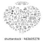 hand drawn doodle back to... | Shutterstock .eps vector #463605278