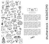 hand drawn doodle pets stuff... | Shutterstock .eps vector #463605290