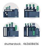 plant set blue building chimney ... | Shutterstock .eps vector #463608656