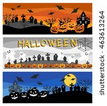 three types of halloween... | Shutterstock .eps vector #463613264