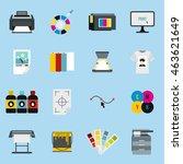 flat printing icons set....