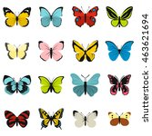 flat butterfly icons set....