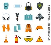 fire worker first aid kit icons ... | Shutterstock .eps vector #463621859