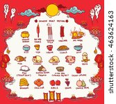 vector illustration of chinese... | Shutterstock .eps vector #463624163