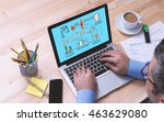challenge concept on tablet pc... | Shutterstock . vector #463629080