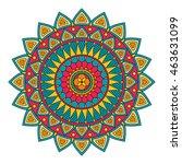 color floral mandala  vector... | Shutterstock .eps vector #463631099