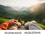hiker young man sitting in... | Shutterstock . vector #463635944