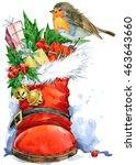 christmas bird watercolor. new... | Shutterstock . vector #463643660