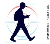 walking people with a mobile... | Shutterstock .eps vector #463654103