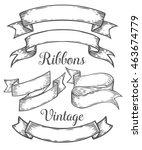 ribbon retro vintage hand drawn ... | Shutterstock .eps vector #463674779