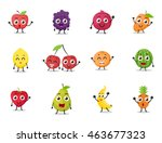 cartoon fruits characters with... | Shutterstock .eps vector #463677323