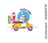 vector illustration cat on bike ... | Shutterstock .eps vector #463682978