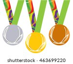 gold medal icon. silver medal... | Shutterstock .eps vector #463699220