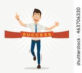 businessman run cross the... | Shutterstock .eps vector #463706330