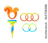 torch symbol and rings... | Shutterstock .eps vector #463708388