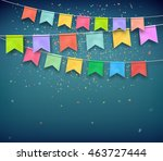colorful festive flags with... | Shutterstock .eps vector #463727444