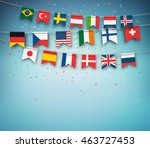 colorful flags of different... | Shutterstock .eps vector #463727453