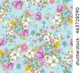 seamless pattern of  summer... | Shutterstock . vector #463728590