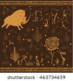 ancient people. cave drawing.... | Shutterstock .eps vector #463734659
