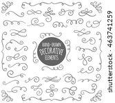 set of cute vector swirl... | Shutterstock .eps vector #463741259