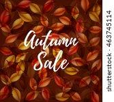 falling orange leaves on dark... | Shutterstock .eps vector #463745114