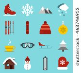 flat winter icons set....