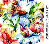 seamless wallpaper with... | Shutterstock . vector #463761194