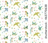 seamless pattern with bird | Shutterstock .eps vector #463770638