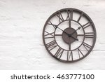 rustic clock on white wall | Shutterstock . vector #463777100