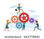 a young team working together...   Shutterstock .eps vector #463778840