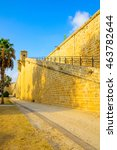 Small photo of View of the land walls of the old city of Acre, Israel