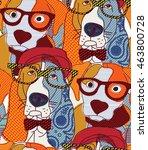 dog seamless pattern patchwork. ... | Shutterstock .eps vector #463800728