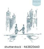handshake of businessmen in... | Shutterstock .eps vector #463820660
