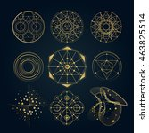 sacred geometry forms  shapes... | Shutterstock .eps vector #463825514