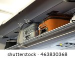 hand luggage compartment with... | Shutterstock . vector #463830368