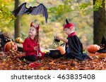 Two Funny Kids Wearing Devil...