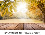Empty Wooden Table With Autumn...