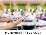 girl use mobile phone  blur... | Shutterstock . vector #463873994