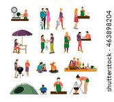 set of people buying food and... | Shutterstock . vector #463898204