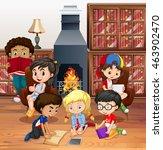 many children reading books in... | Shutterstock .eps vector #463902470