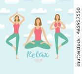 cartoon girls doing relaxing... | Shutterstock .eps vector #463927550