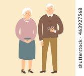 lovely cartoon grandparents.... | Shutterstock .eps vector #463927568