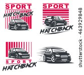 set of four sport cars logo ... | Shutterstock .eps vector #463929848