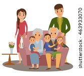 big family. happy family whith... | Shutterstock . vector #463933070